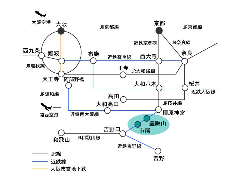 電車・空路アクセスマップ